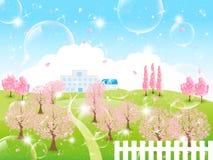 Piękny czereśniowy drzewo royalty ilustracja