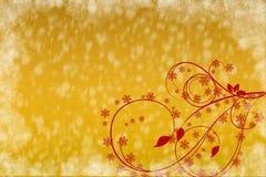 Piękny czerwony kwiecisty ornament na świątecznym bladym złocie Obrazy Stock