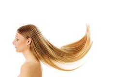 Piękny długi blondynka włosy, odizolowywający na bielu zdjęcia royalty free