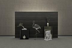 Piękny 3d wnętrze Nowożytny lub Antyczny styl wystawa Zdjęcie Stock