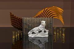 Piękny 3d wnętrze Nowożytny lub Antyczny styl wystawa Zdjęcia Royalty Free