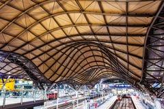 Piękny dach z skały i metalu strukturą dworzec zdjęcie royalty free