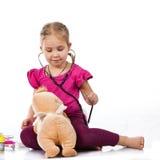 piękny doktorski lali dziewczyny bawić się Obrazy Stock