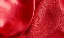 Piękny drukowany czerwony jedwab i atłas z miękkimi fałdami Tapeta lub t?o obraz stock
