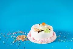 Piękny duży tort Urodzinowy tort na koloru tle Obraz Stock