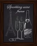 Piękny dwa szkła i butelka szampan na tle Fotografia Stock
