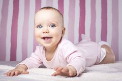 Piękny dziecięcy portret na kolorowym tle Zdjęcie Royalty Free