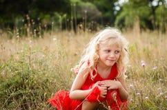 Piękny dziecko w łące Fotografia Royalty Free