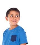 Piękny dziecko z błękitnym czarni włosy i tshirt zdjęcia royalty free