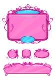 Piękny dziewczęcy różowy gemowy interfejs użytkownika Zdjęcia Royalty Free