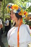 Piękny dziewczyny aktorki animator w krajowym Ukraińskim kostiumu Zdjęcie Royalty Free