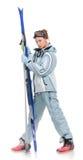 piękny dziewczyny grey nart sportów kostium fotografia royalty free