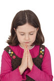 Piękny dziewczyny modlenie z zamkniętymi oczami Fotografia Royalty Free