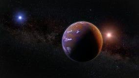 Piękny exoplanet, część obcy binarnej gwiazdy system z czerwoną i błękitną gwiazdą ilustracji