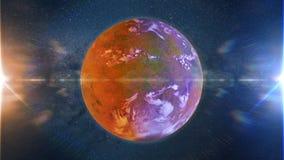 Piękny exoplanet, część obcy binarnej gwiazdy system z czerwonej i błękitnej gwiazdy 3d przestrzeni ilustracją royalty ilustracja