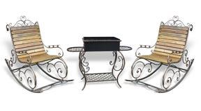Piękny forged metall roching krzesło i grilla grill odizolowywamy zdjęcia royalty free