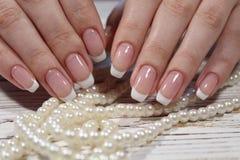 piękny francuski manicure fotografia stock