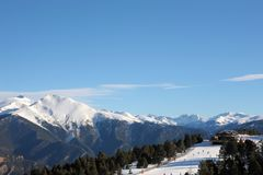 Piękny góra krajobraz - Vallnord, ksiąstewko Andorra, Europa obrazy stock