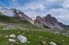 Piękny góra krajobraz w dolomitach, Fanes-Sennes-Prags, Włochy Fotografia Stock