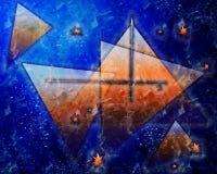 Piękny, głęboki zmrok, i zegar - błękitny tło z gwiazdami ilustracji