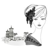 Piękny gejsza portret i azjata krajobraz royalty ilustracja