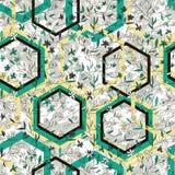 Piękny geometryczny i kwiecisty wektorowy bezszwowy wzór Wręcza patroszonych małych kwiaty i rhombuses na marmur textured tle ilustracja wektor