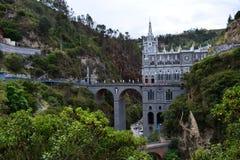 Piękny gothical kościół Las Lajas w Ipiales, Kolumbia obrazy stock