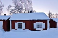 Piękny Grudnia dzień w Gammelstad kościół miasteczku fotografia royalty free
