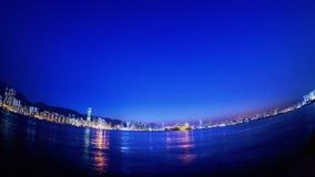 Piękny Hong Kong zmierzchu miasta widok. HD Fisheye Timelapse. zdjęcie wideo