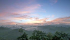 Piękny i Kolorowy wschód słońca przy naturalnym wzgórzem obrazy stock