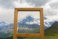Piękny idylliczny Alps krajobraz z punktem widzenia, góry, Szwajcaria obrazy stock