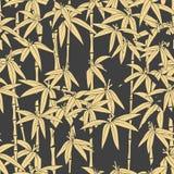 Piękny japoński bezszwowy wzór Azjatycki bambusowy las, ciemny tło Japoński bambus dla pojęcie projekta piękne ilustracji