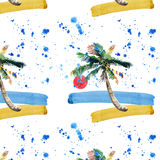 Piękny jaskrawy śliczny zielony tropikalny uroczy cudowny Hawaii lata kwiecisty ziołowy wzór plażowy zmierzch, drzewko palmowe, m Zdjęcie Stock