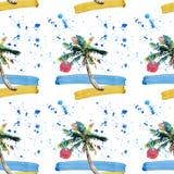 Piękny jaskrawy śliczny zielony tropikalny uroczy cudowny Hawaii lata kwiecisty ziołowy wzór plażowy zmierzch, drzewko palmowe, m Obrazy Royalty Free