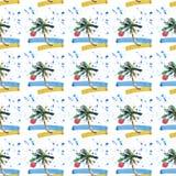 Piękny jaskrawy śliczny zielony tropikalny uroczy cudowny Hawaii lata kwiecisty ziołowy wzór plażowy zmierzch, drzewko palmowe, m Fotografia Royalty Free
