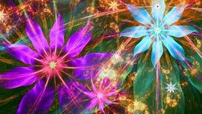 Piękny jaskrawy żywy nowożytny kwiatu tło w menchiach, czerwień, błękit, zieleni kolory Obraz Stock