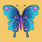 Piękny jaskrawy czarodziejski błękitny motyl Wektorowy ilustracyjny isola Obrazy Royalty Free