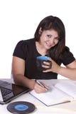piękny jej laptopu kobiety działanie Fotografia Stock