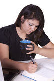 piękny jej laptopu kobiety działanie Zdjęcia Stock