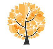Piękny jesieni drzewo na Białym tło wektorze Zdjęcie Stock