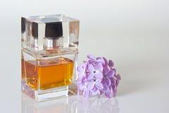 Piękny jest kwadratowy z kobiety pachnidła butelką Fotografia Stock