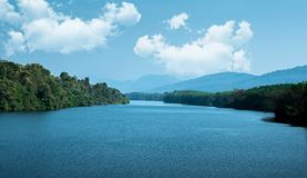 Piękny jeziorny widok w Kerala obraz stock