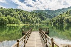 Piękny jezioro i molo zdjęcia royalty free