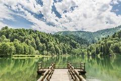 Piękny jezioro i molo zdjęcie royalty free