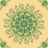 Piękny kółkowy kwiecisty bezszwowy wzór Ornamentacyjny round koronki wzór, wektorowa ilustracja Zdjęcie Stock