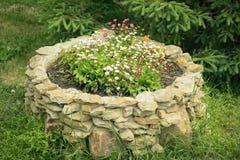 Piękny kamienny łóżko dla kwiatów na trawie przy świerkowym drewnem Zdjęcia Royalty Free