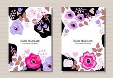 Piękny karta projekt z kwiatami Kreatywnie szablon dla zaproszenia, kartki z pozdrowieniami, plakat, ulotka, broszurka royalty ilustracja