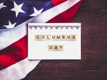 Piękny kartka z pozdrowieniami na Kolumb dniu Przygotowanie dla wakacje fotografia stock