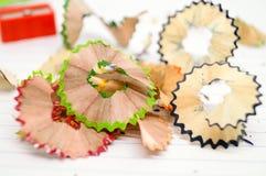 Piękny kawałek drewno dżonka od ostrzarki kredki obrazy stock