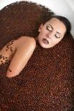 piękny kawowy mody dziewczyny jacuzzi obrazy royalty free